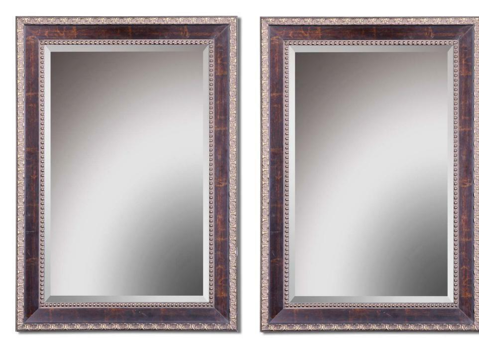 Set 2 Beaded Edge Wall Mirror Large Beveled Rectangle