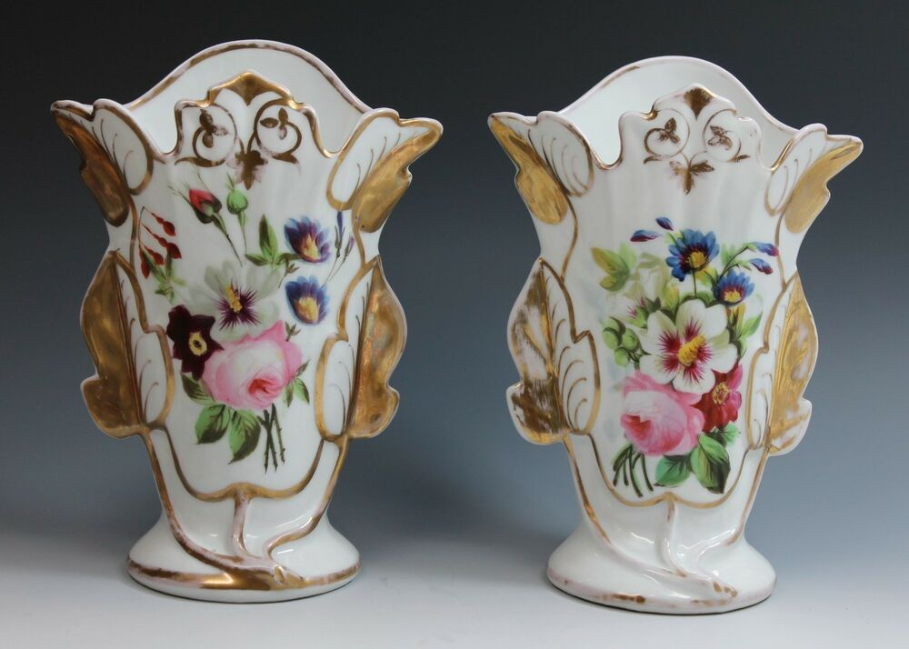 Pountney And Allies 2 Early 19th Century Hand Painted Floral Design Vase Vases Ebay