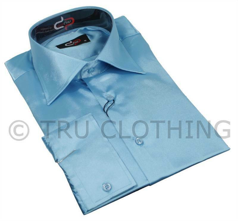 Mens Italian Design Baby Blue Silk Satin Finish Shirt