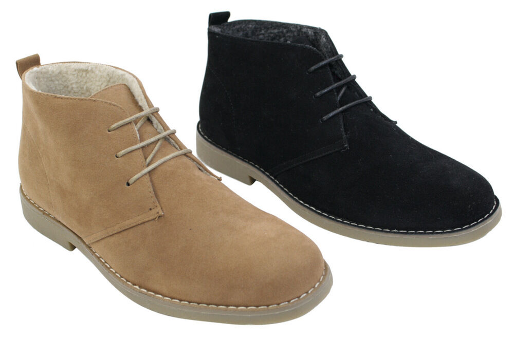 mens suede leather desert winter boots black camel brown
