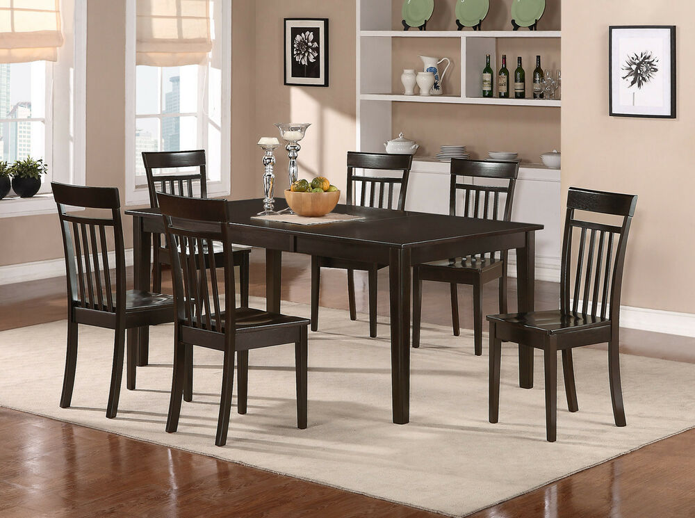 Details About 7pc Set Dinette Dining Room Table W 6 Plain Wood Seat Chairs In Cuccino
