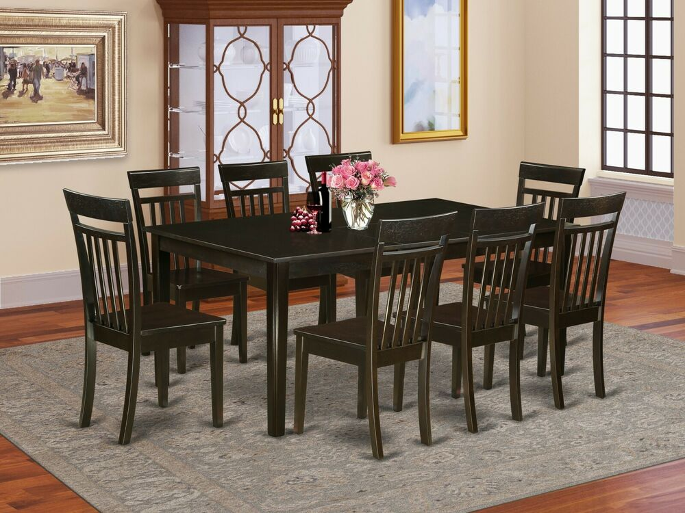 9 pc set dinette dining room set table w 8 plain wood for Dining room sets 8 seats