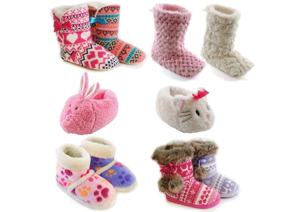 GIRLS KIDS CHARACTER SEQUIN PAW FAIRISLE SLIPPERS BOOTS ...