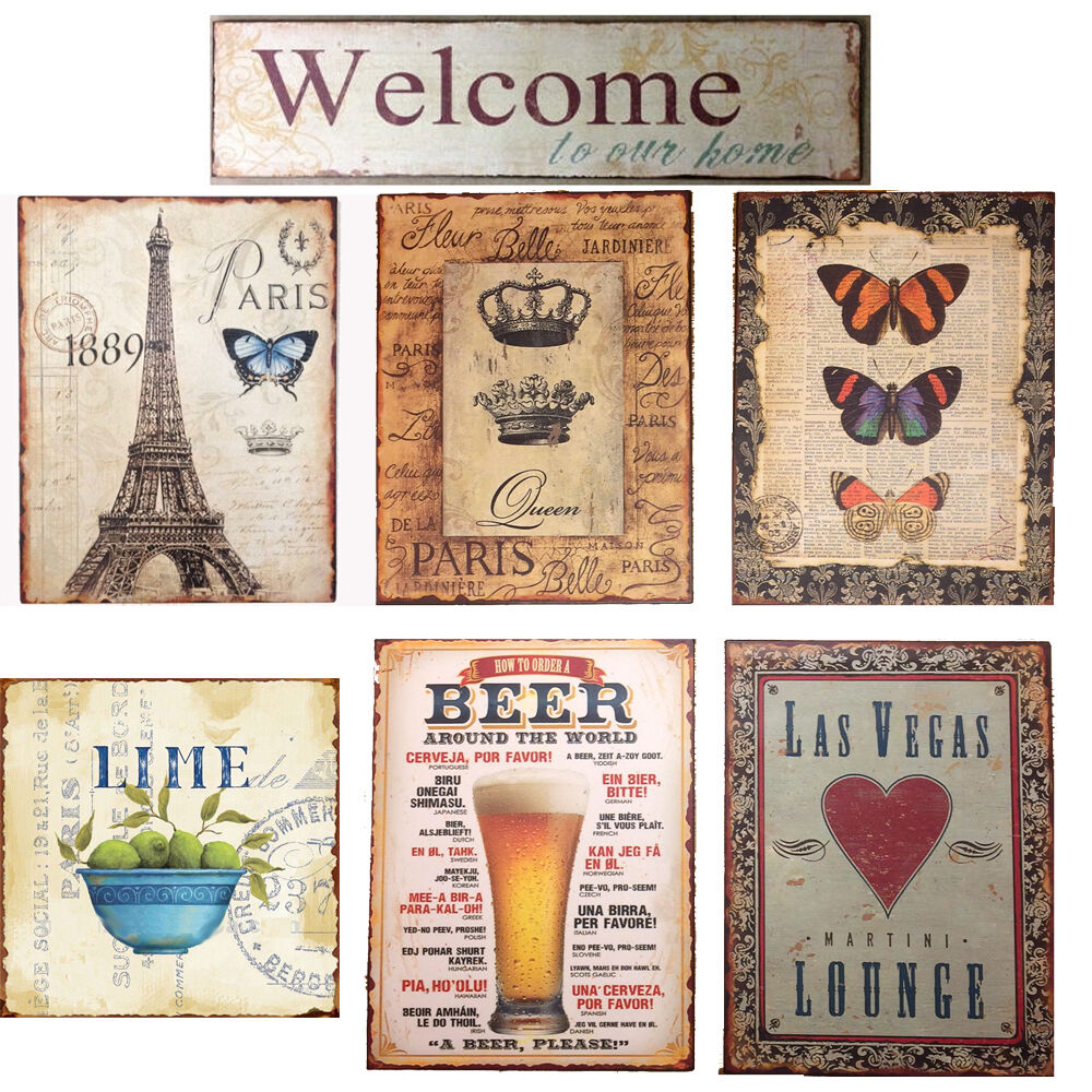 blechschild deko nostalgie retro vintage shabby antik look paris welcome lime ebay. Black Bedroom Furniture Sets. Home Design Ideas