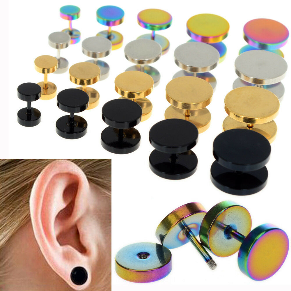 stainless steel 2x fake cheater ear plugs gauge illusion body jewelry pierceing ebay. Black Bedroom Furniture Sets. Home Design Ideas