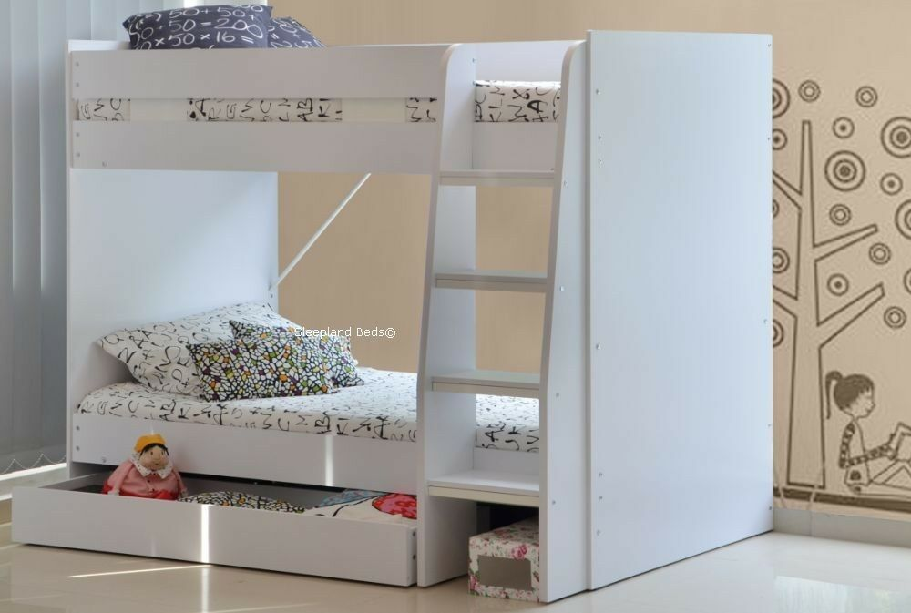 White royal bunk with large storage drawer 3ft single for Single bunk bed