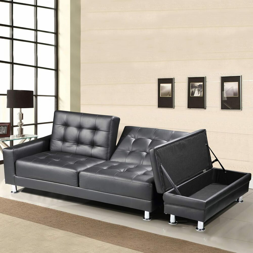 Modern Black Faux Leather 3 Seater Sofa Bed Storage Ottoman Bluetooth Option Ebay