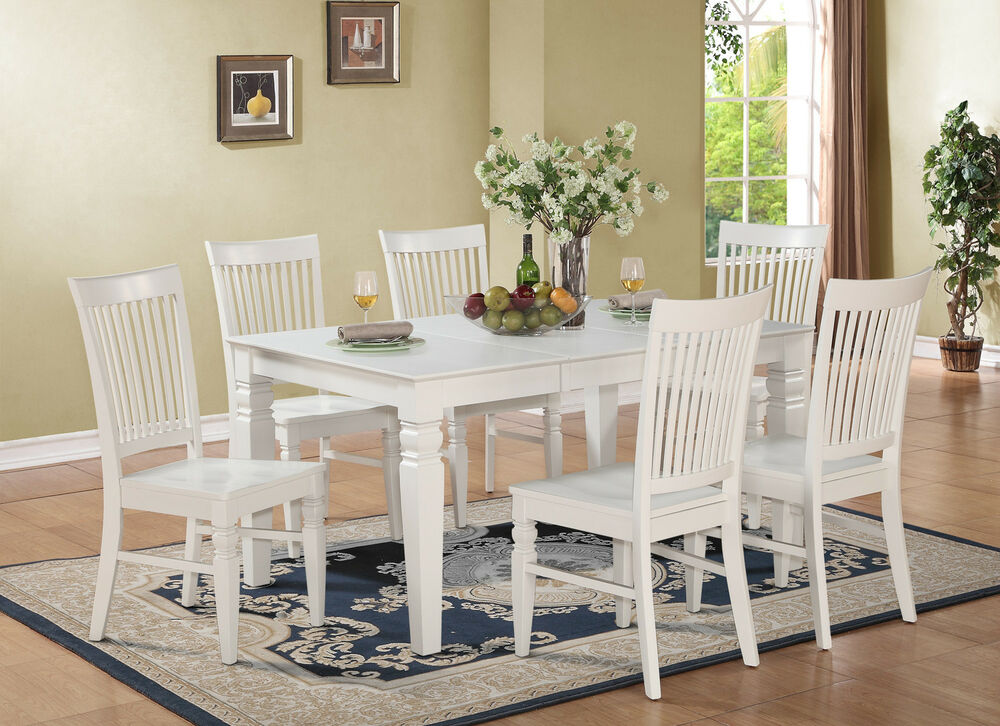 Dining Wood Table: 7pc Set Rectangular Dinette Dining Table With 6 Wood Seat