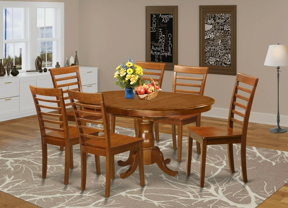 7 pc set oval dinette kitchen dining table 6 wood seat for Kitchen table with 6 chairs