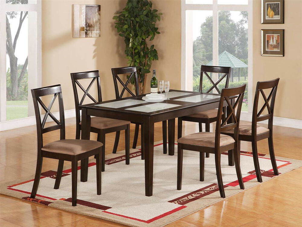 pc dinette dining room set include table 4 upholstered chairs in