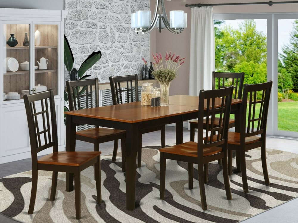 7 pc dinette kitchen dining table w 6 wood seat chairs in for Kitchen table set 6 chairs