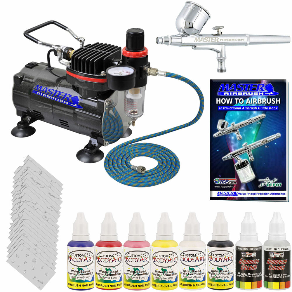 NAIL ART AIRBRUSH SYSTEM KIT Air Compressor Paint Color