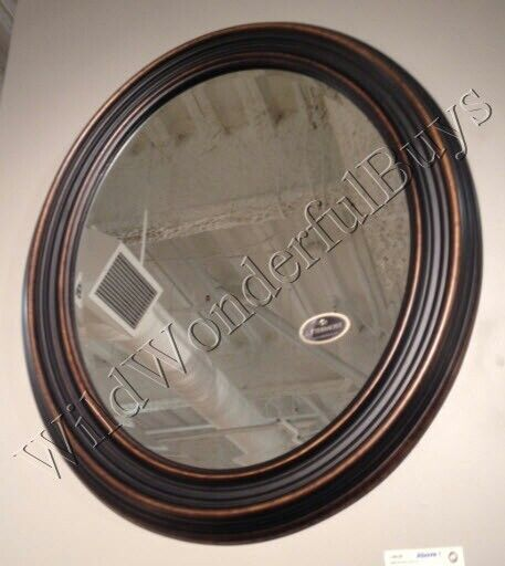 "Ribbed Wall Mirror Antique Bronze Gold 34"" Oval Wood Frame Bathroom Vanity New"