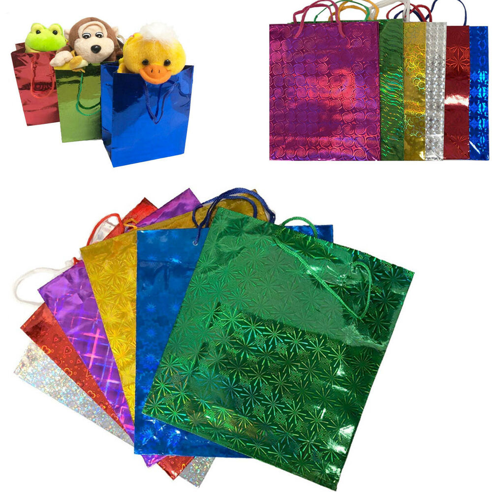 Gift Bags Holographic Paper Wine Party Present Loot Shiny