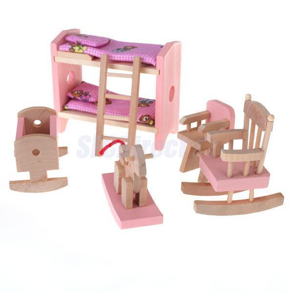 Kids Pretend Role Play Wooden Toy Dollhouse Nursery Room Miniature Furniture Set Ebay