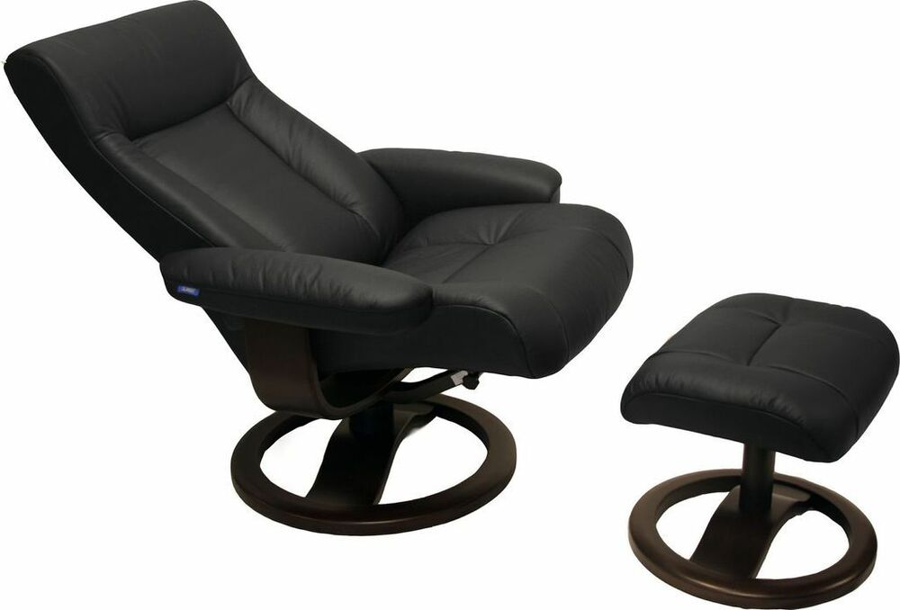 Black Leather Hjellegjerde ScanSit 110 Ergonomic Lounge Recliner Chair Ottom