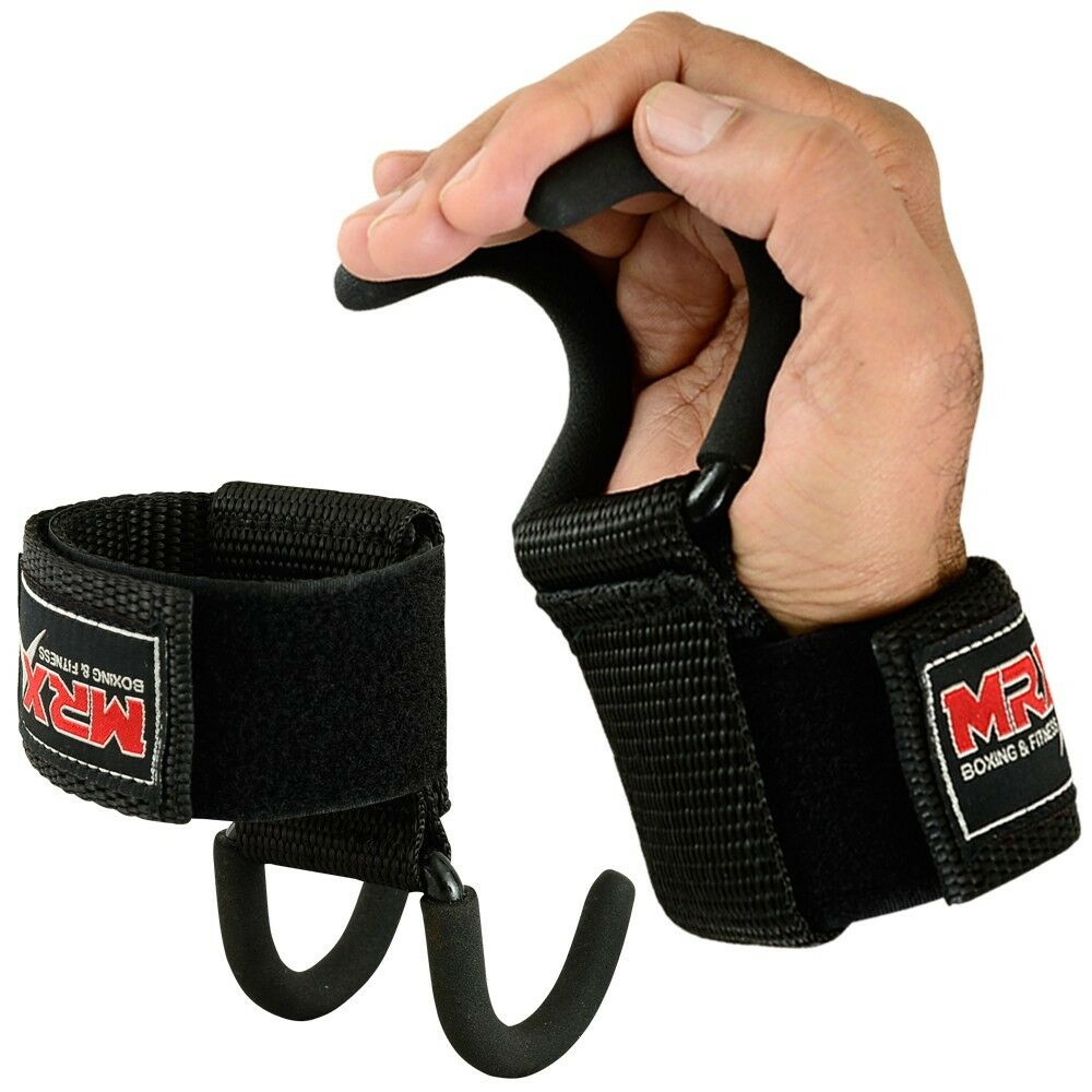 1 Pair Weight Lifting Hand Bar Grips Straps Wrist Support: Power Weight Lifting Gym Training Hook Fitness Grips