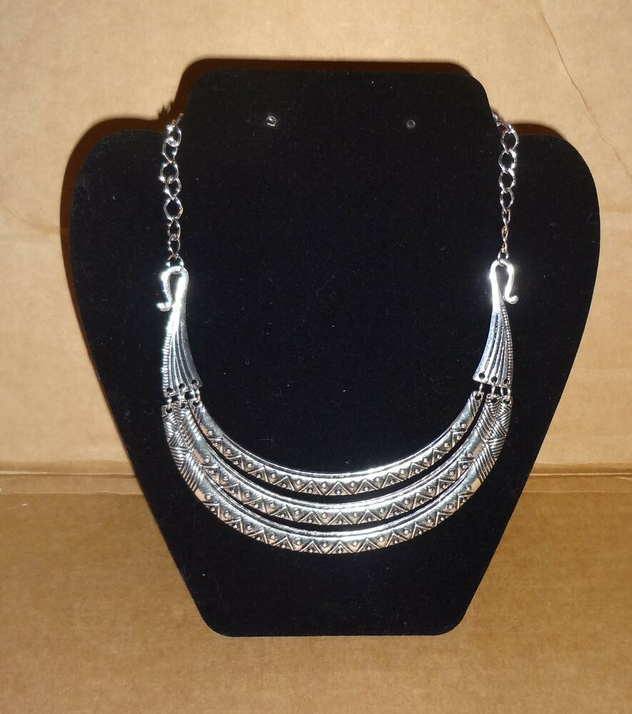 New Silver Antique Vintage Silver Choker Necklace Costume Jewelry Steampunk Ebay