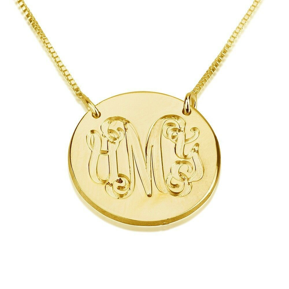 monogram necklace 24k gold plated medallion personalized