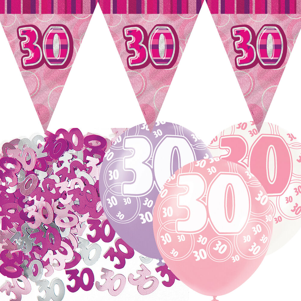 Pink silver girl glitz 30th birthday flag banner party for 30th birthday decoration packs