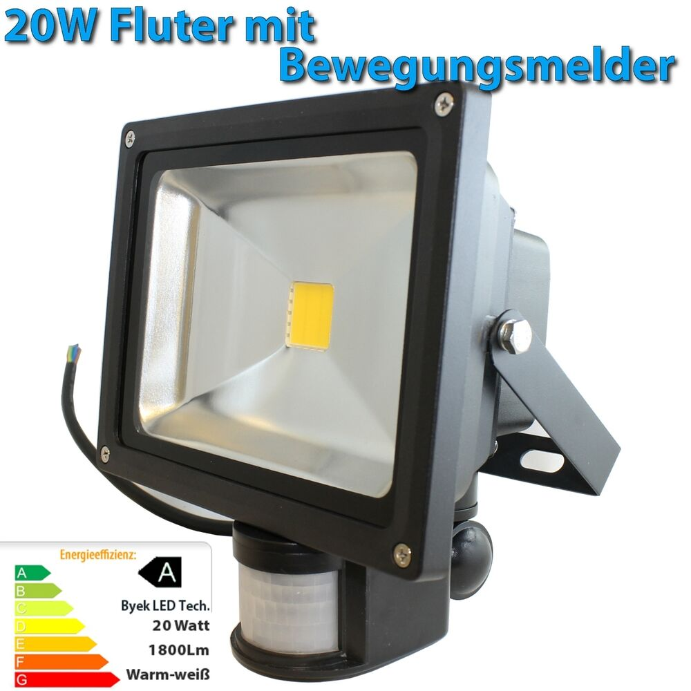 20watt led fluter bewegungsmelder sensor 20w strahler flutlicht warmwei ebay. Black Bedroom Furniture Sets. Home Design Ideas