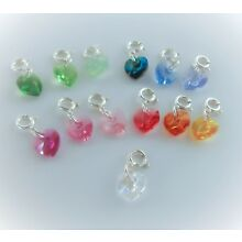 Sterling Silver Crystal Heart Charm Blue Purple Green Red Yellow Orange, Clip On