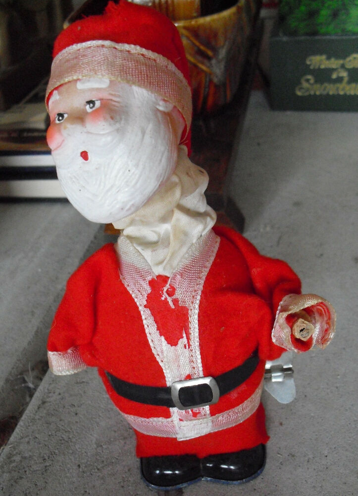 Odd vintage windup tin santa claus figurine quot tall