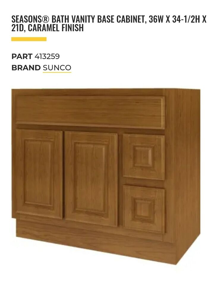 New Bathroom Vanity Drawer Base Cabinet Natural Maple Shaker 36 Wide X 21 Deep Ebay
