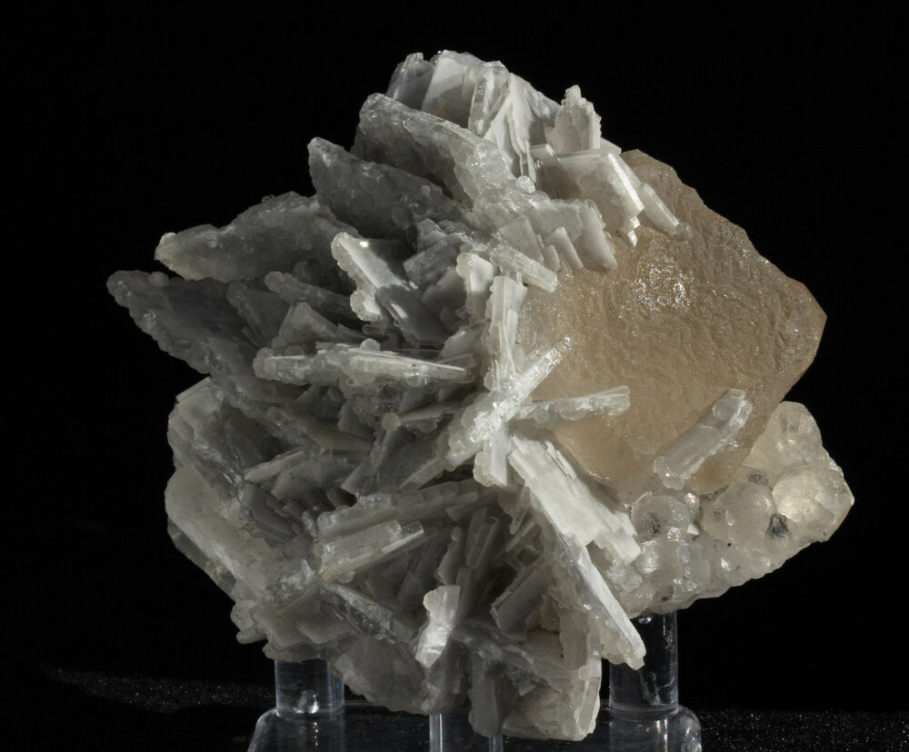 Barite Crystals On Bright Fluorite Mineral Specimen From