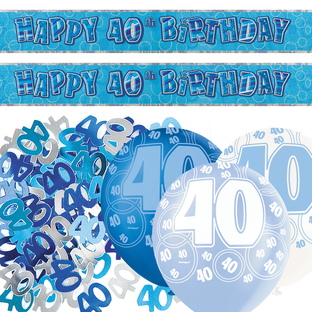 Blue silver glitz 40th birthday banner party decoration for 40th birthday decoration packs