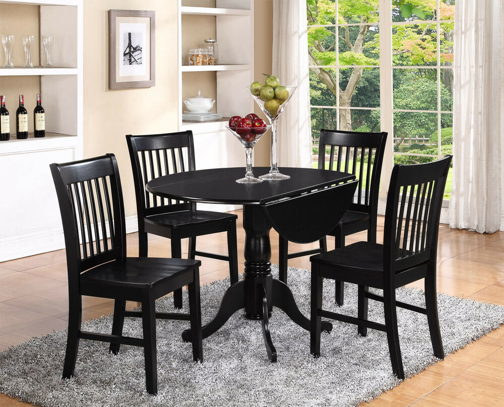 5pc set round dinette kitchen dining table with 4 wood for Black dining sets with 4 chairs