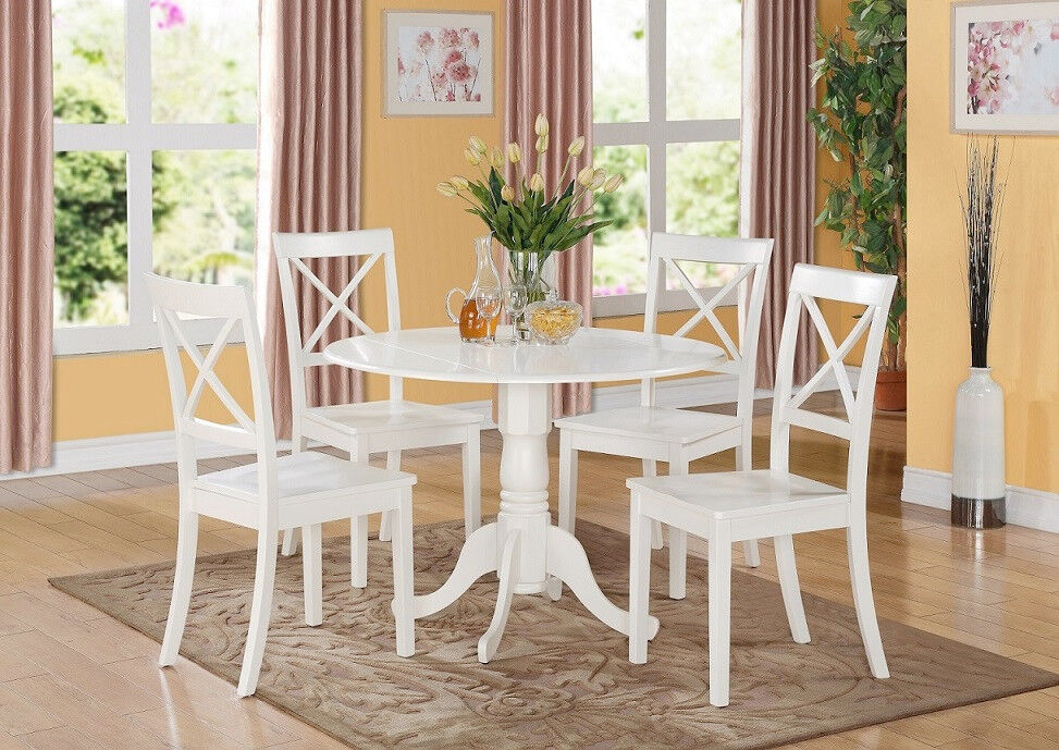 5pc set round dinette kitchen table with 4 wood seat chairs in linen white ebay. Black Bedroom Furniture Sets. Home Design Ideas