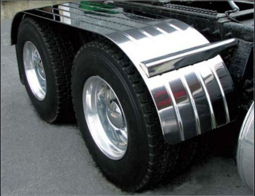 For A Semi Tractor Fenders : Quot tandem semi truck fenders ribbed stainless steel with