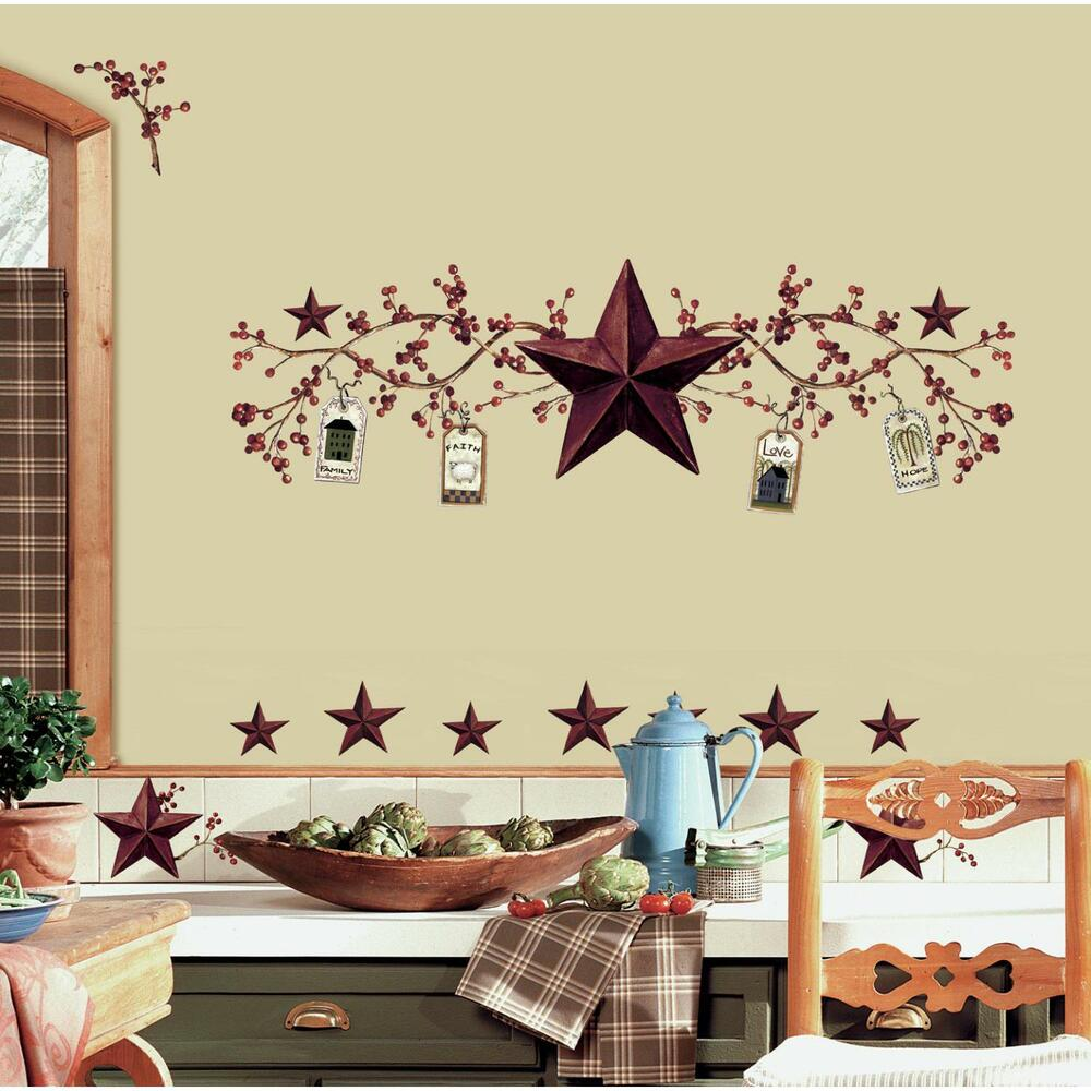 Country berries and stars stick ups rustic folk decals for Country wall mural