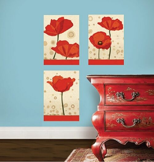 Wallies Poppies Wall Stickers 3 Decals Flower Mural Panels