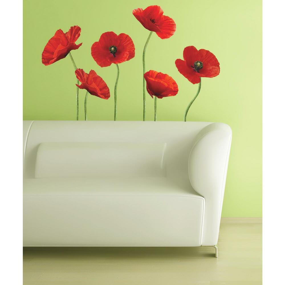red poppies mural wall stickers 6 big flowers decals 42 tall stickups decor ebay. Black Bedroom Furniture Sets. Home Design Ideas