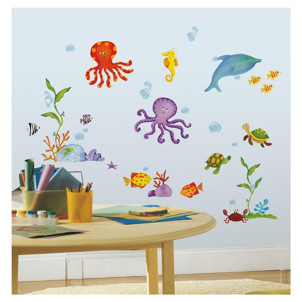 under the sea wall stickers 60 decals dolphin octopus fish turtle scrapbook 847764086945 ebay. Black Bedroom Furniture Sets. Home Design Ideas