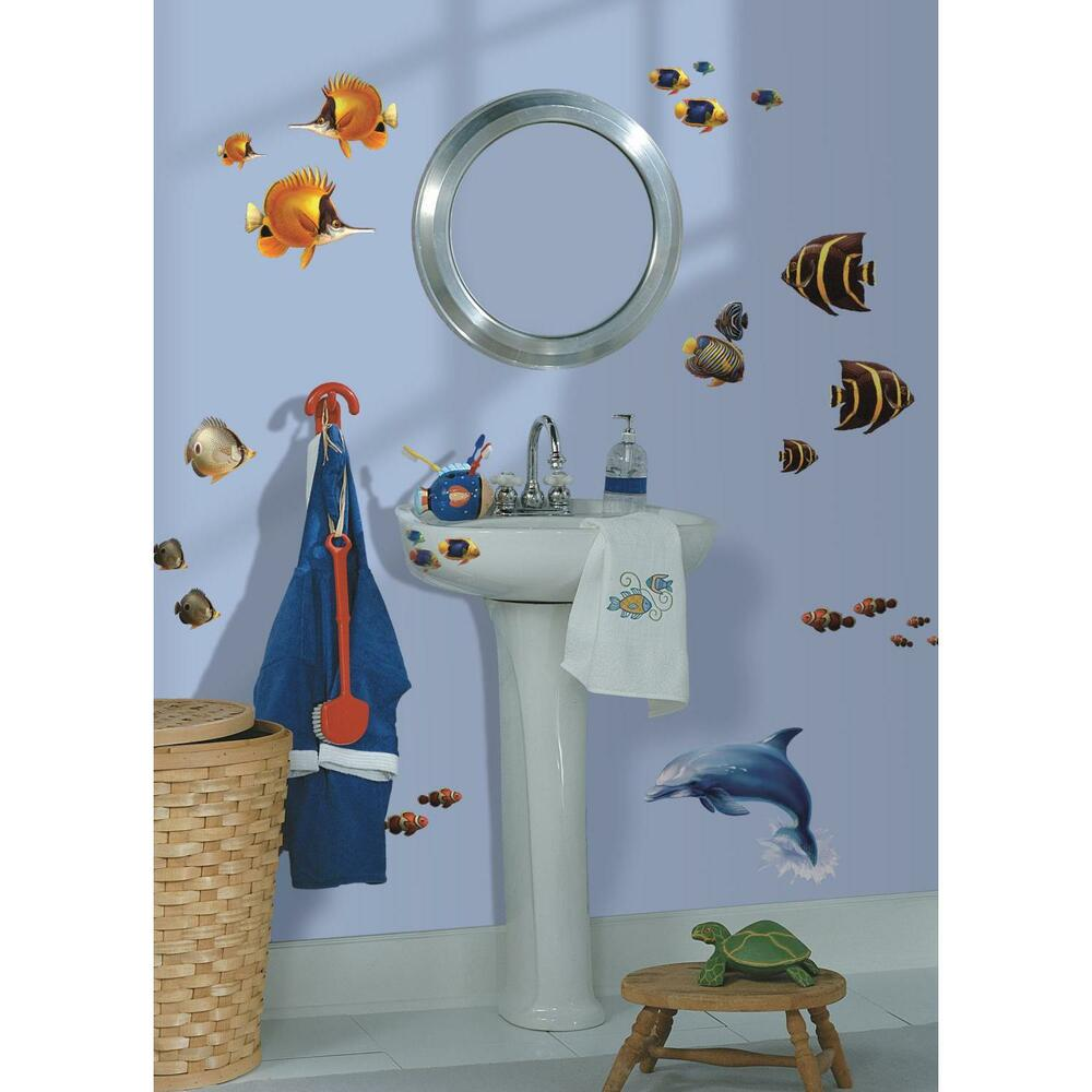 Sea life under the sea wall stickers 24 decals bathroom for Fish themed bathroom