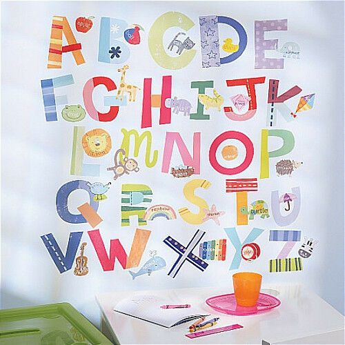 Wallies alphabet fun wall stickers 72 decals abc letter for Alphabet wall decoration