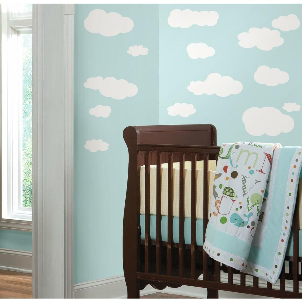 CLOUDS WHITE stick ups 19 big decals nursery wall stickers ...