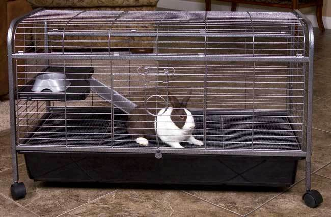 Living room series quality two level rabbit indoor hutch cage with food dish ebay for Critter ware living room series