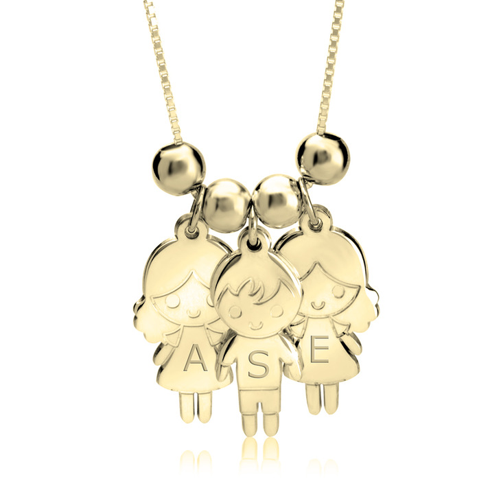Child Name Necklace Gold