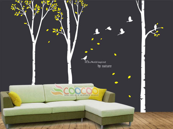 "Wall Decor Decal Sticker Removable Large 117"" High Birch"