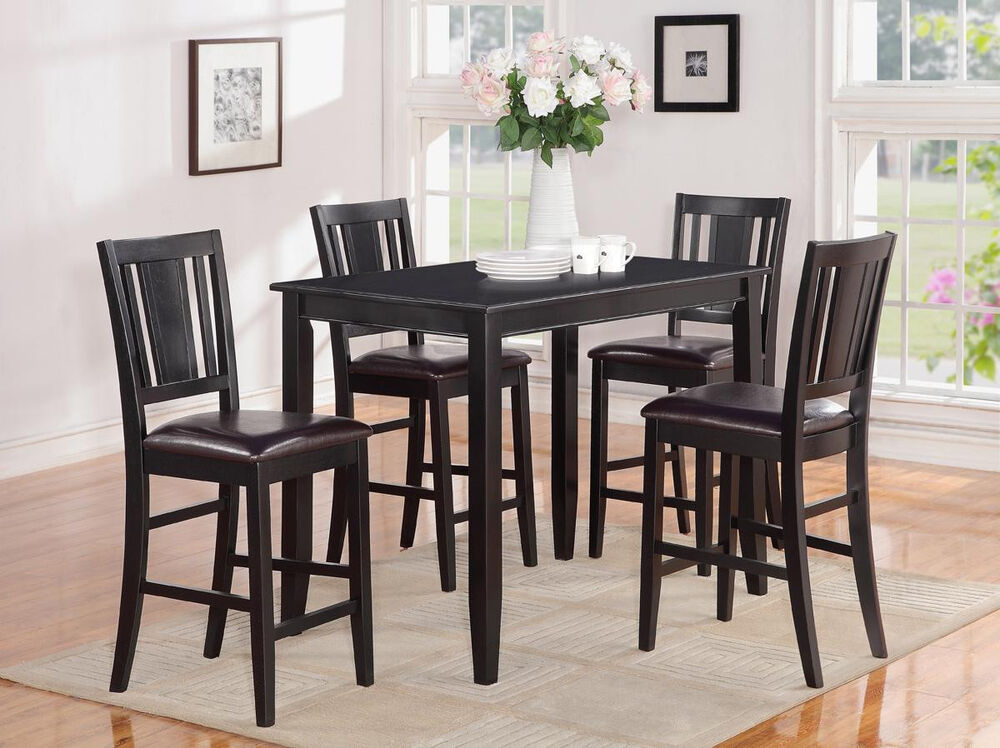 5 Pc Counter Height Pub Table With 4 Faux Leather Seat