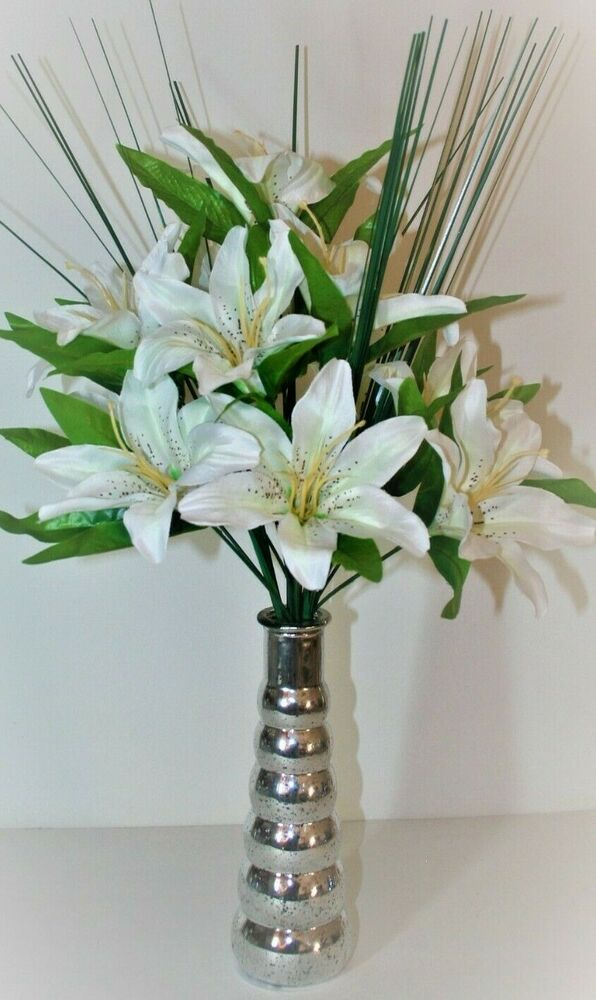 Cream Tiger Lily Artificial Flower Arrangement Spray In Vase Display Ebay