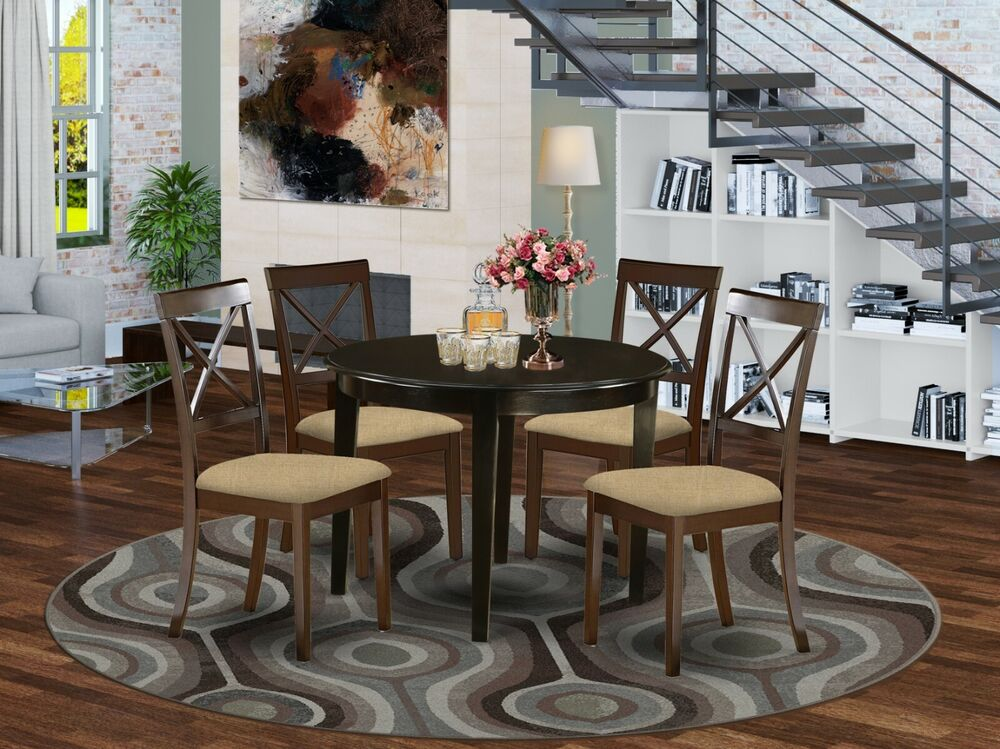 5pc set round dinette kitchen table w 4 microfiber for Kitchen dinette sets