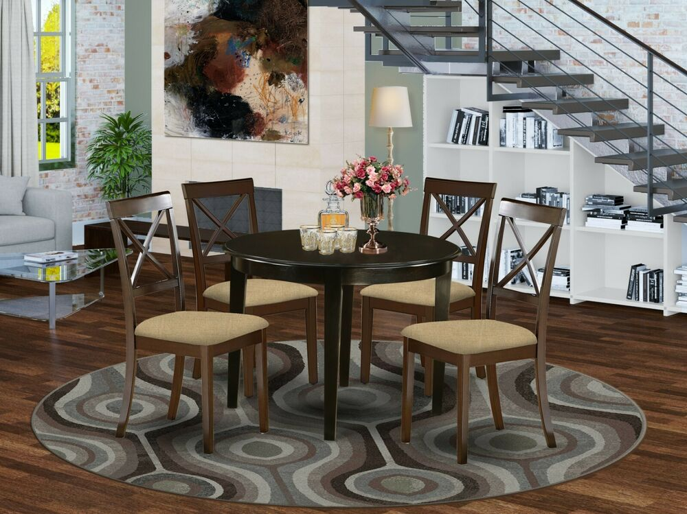 Dining Kitchen Table Sets: 5PC SET ROUND DINETTE KITCHEN TABLE W/ 4 MICROFIBER