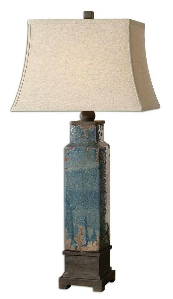 Distressed Antique Blue Ceramic Table Lamp Pottery Rustic