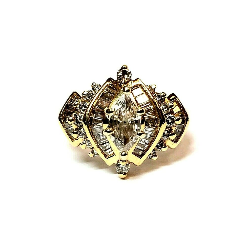 ANTIQUE 1.50CT MARQUISE DIAMOND 14K YELLOW GOLD ENGAGEMENT ...