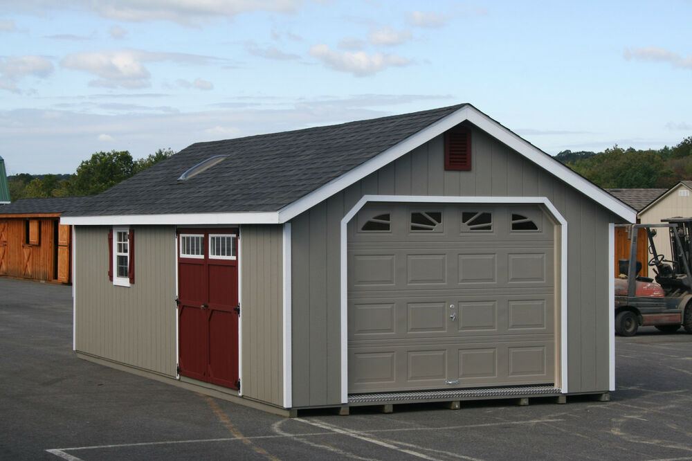 Amish Made Garage : Amish built a frame garage storage shed duratemp